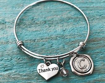 SALE, Thank you, Thank you Gift, Thank you Jewelry, Thank you Bracelet, Appreciation gift, Bangle Bracelet, Charm Bracelet, Teacher Gift