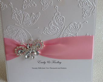 Hand made wedding invitation. Butterfly