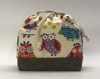 It's a Hoot Large Drawstring Knitting Project Craft Bag - READY TO SHIP