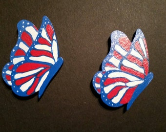 Red White & Blue Wooden Butterfly Magnet