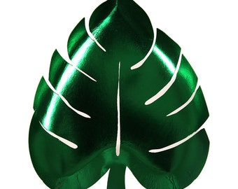 """Palm Leaf Paper Plates - Set of 8 Meri Meri 9"""" x 8"""" Shiny Green Foil Palm Leaf Shaped Plates - Perfect for a Summer Party or Luau!"""
