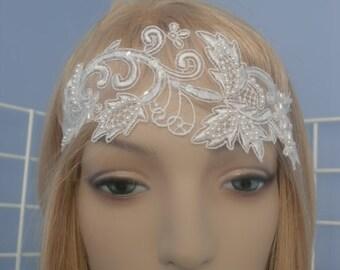 Elegant Vintage Beaded Bridal Lace Headband Hairpiece