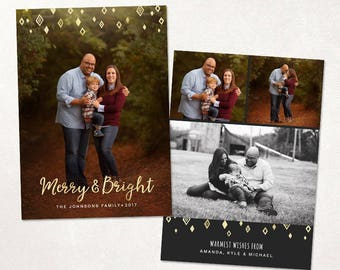 Christmas Card Template -  Merry and  Bright Photoshop template 5x7 flat card - Gold Diamonds CC131 - INSTANT DOWNLOAD
