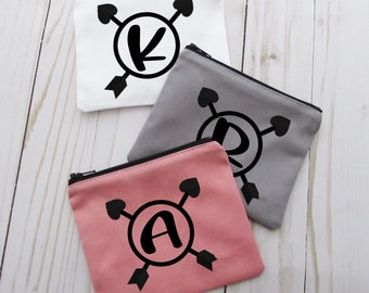 Coin Purse - Monogram Initial - Small Make up Bag - Change Purse - Small Credit Card Wallet - Zip Money Bag - CP34