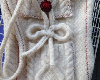 Upcycled Sweater Purse with Rose Button