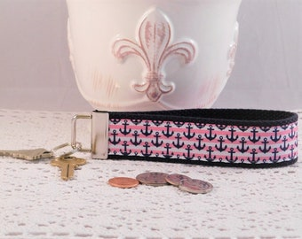 Keychain Wristlet Made With Pink and Navy Anchor Inspired Ribbon
