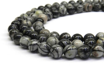Black Picasso, 6mm Beads, 8mm Beads, Black Vein, Black Beads, Black Gemstone, Black Picasso Jasper, Jasper Beads, Grey Black, Grey Beads