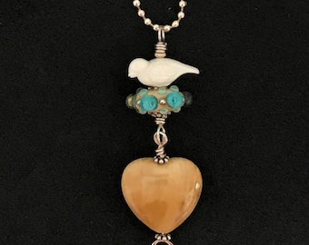 Handmade Necklace with Artisan Lampwork, Agate Heart, Bird, and Sterling Silver - OOAK