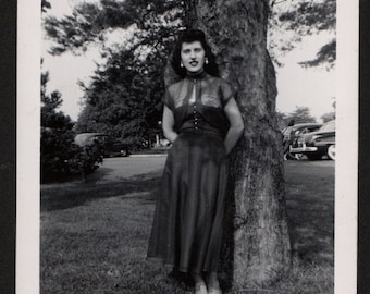 Vintage Snapshot Photo Raven Haired Beauty Poses Under Tree 1950's, Original Found Photo, Vernacular Photography