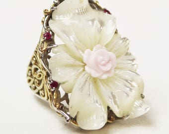Michael Valitutti Palladium Silver Mother-of-Pearl Conch Shell & Ruby Sz 5 3/4