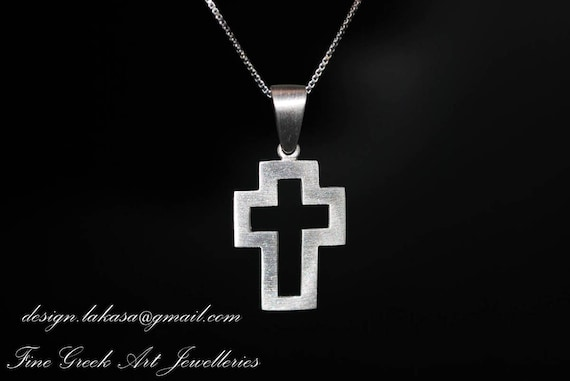 Cross Sterling Silver Jewelry baby shower day mother religious christian baptism greek art gift name day boy men collection unisex