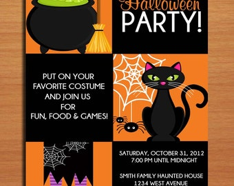 Witchy Halloween Party Customized Printable Invitations /  DIY