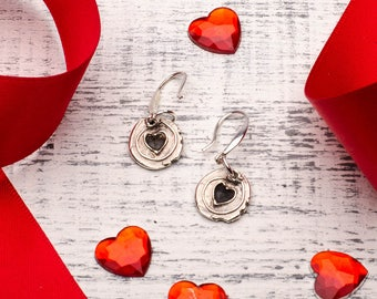 Heart Charms Round Drop Earrings Sterling Silver Dainty Rustic Handmade Jewelry for Women