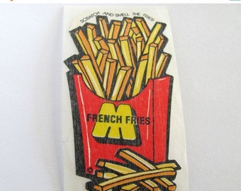 SALE French Fries Vintage Mello Smello Scratch and Sniff Sticker - 80's Scented