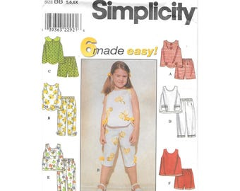 Girls Shorts Capris Top 5 to 6X Sewing Pattern Simplicity 8676