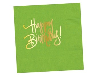 Napkins | Happy Birthday - Lime Green (in stock)