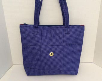 Knitting Project Bag, Large Knitting Bag, Navy Blue Knitting Bag, Yarn Tote Bag