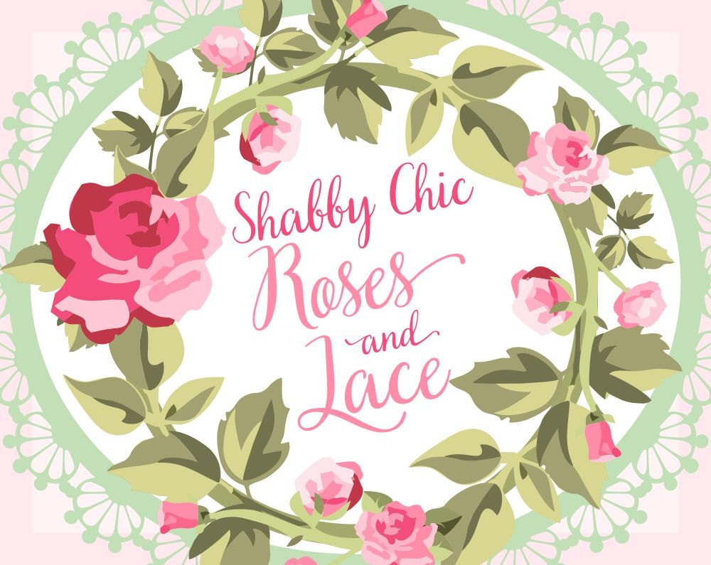 Rose Clipart Lace Vector Wreath