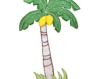 ID 1770D Palm Tree With Coconuts Patch Beach Scene Embroidered Iron On Applique