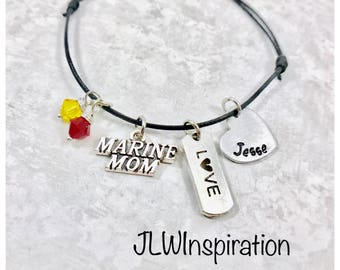 Marine Mom and Love, adjustable cord bracelet with 2 charms, USMC, Mom, Marine Corps, Military, US, present, gift, mom, wife, mother's day