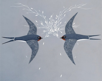 Two Swallows - Bird Art Print 8x8 - Contemporary Scandinavian Painting - Love, Engagement, Wedding - by Natasha Newton