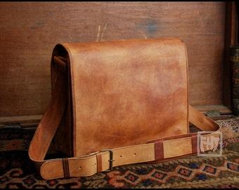 """FHT Camel Leather Messenger Bag Shoulder Satchel 12""""x16"""" Full Flap"""