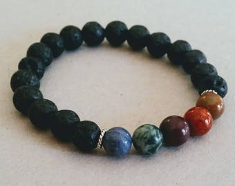 Multi-Color Gemstone 8mm Diffuser Bracelet with Lava Beads