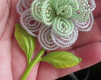 Vintage Flower Pin Beaded Enamel Brooch Spring Green