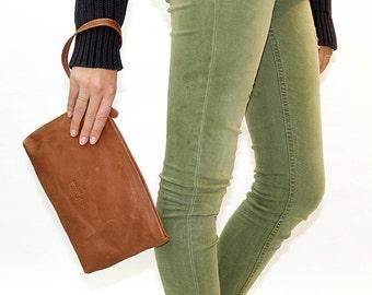 Rustic Brown Leather wristlet, Wrist Strap Clutch, clutch with handle, evening clutch, clutch purse, leather clutch with strap