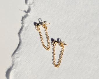 Gold Dangle Earrings Gold Chain Earrings Gold Drop Earrings Chain Drop Earrings