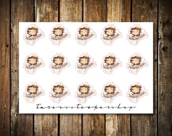 Happy Birthday - Cute Brunette Girl - Functional Character Stickers