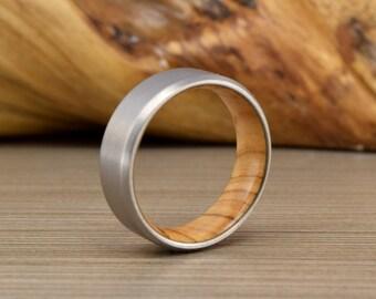 Titanium and Olive Wood Wedding Ring, Wood Men's Wedding Band, Men's Wedding Ring, Women's Wedding Ring, Unique Wedding Band