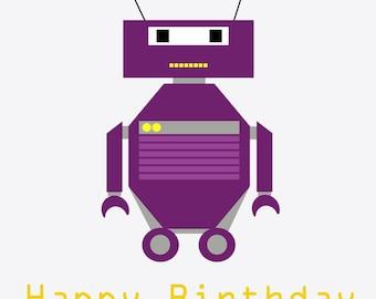 Purple Robot Birthday Card