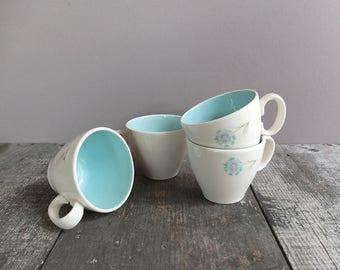 Set of 4 - Vintage 1950s Teacups / Light Blue & White Teacups / Mid Century Teacups