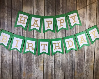 Happy Birthday Banner, Happy Birthday Green Mint Gold Banner, Birthday Banner, Birthday Decoration