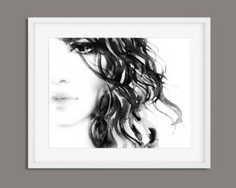Wall Art, Black and White Art, Prints, Woman Print, Woman Wall Art, Modern Print, Wall Art Print, Minimalist Print, Watercolour Print, Art