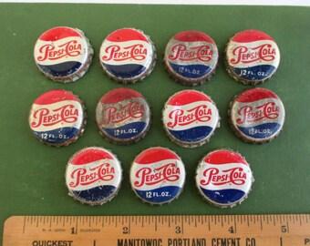 11 Vintage Pepsi Cola Bottle Caps w/ Cork Backs - Used