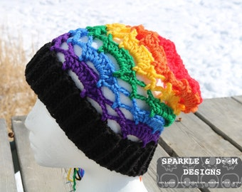 Gay Pride Slouch, gay straight alliance GSA crochet made to order rainbow pride