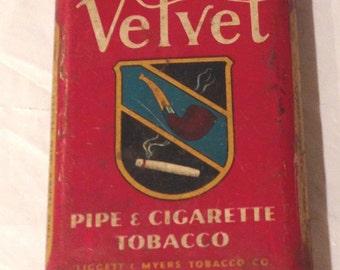 Vintage Velvet Pipe & Cigarette Tobacco Pocket Tin  LIGGETT MYERS USA