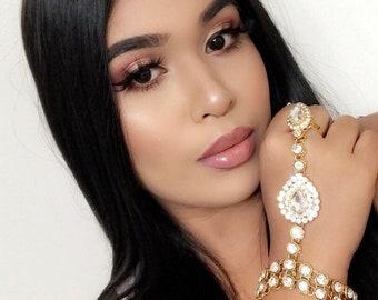 Gold Silver Rhinestone Jeweled  Hand Jewelry Panja Hand Chain Bollywood Bohemian Grecian Glamorous hand jewelry Kundan Wedding Baby Shower