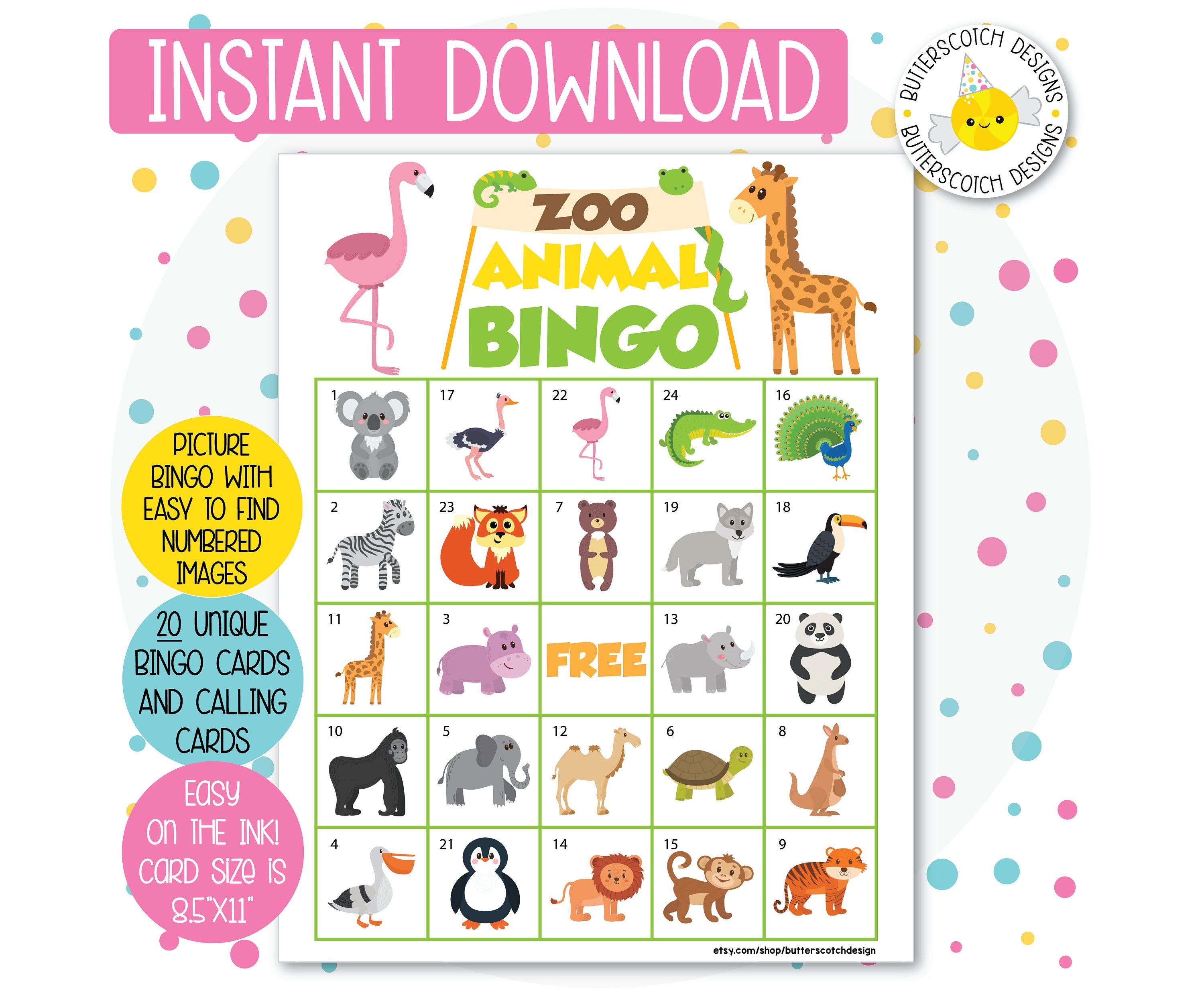 It is a picture of Geeky Animal Bingo Printable