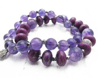 amethyst bracelet, February birthstone jewelry, charm bracelet, rose charm, Hill Tribe silver charms, purple gemstone, purple turquoise