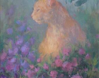 painting print- orange cat painting