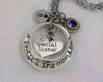 Special Sister I Love U 2 The Moon and Back Necklace w-Letter Charm & Swarovski Birthstone, Sister Gift, Love You to the Moon and Back