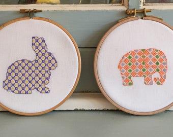 Handmade Cross Stitch Embroidery Hoop Rabbit Elephant Set of Two