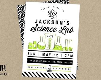 Science Party Printable Invitation- modern black white lime green chemistry experiements lab beaker flask test tubes girl smart nerd