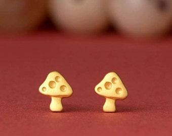 Rose Gold  Mushroom Earrings Sterling Silver Tiny Mushroom Studs gold Toadstool Earrings woodland fairy womens gift for kids