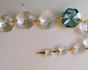 Vintage Chandelier Crystal Prism Strand Clear and Aqua Octagon Swag Graduated Size