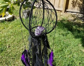 3D Orb Dreamcatcher with Purple & Black Feathers and Lace