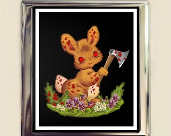 Creepy Bunny Rabbit Cigarette Case Business Card ID Holder Wallet Evil Kawaii Animal With Axe Dark Pop Art
